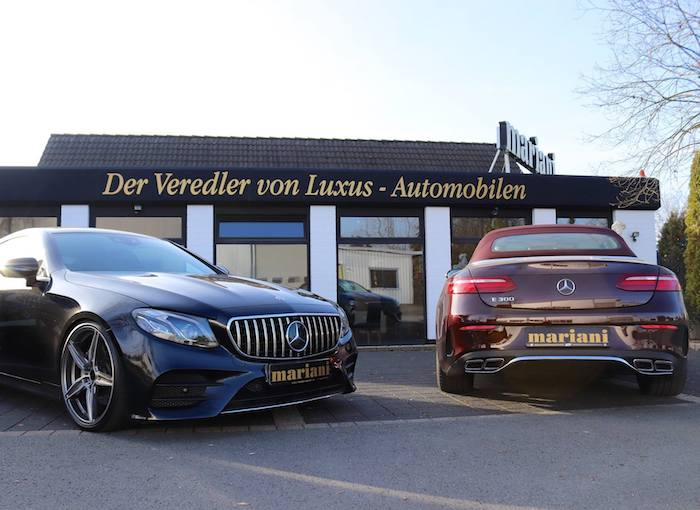 Mercedes E-Klasse mit 63amg Auspuff, Panamericana Grill + 21 Zoll Felgen
