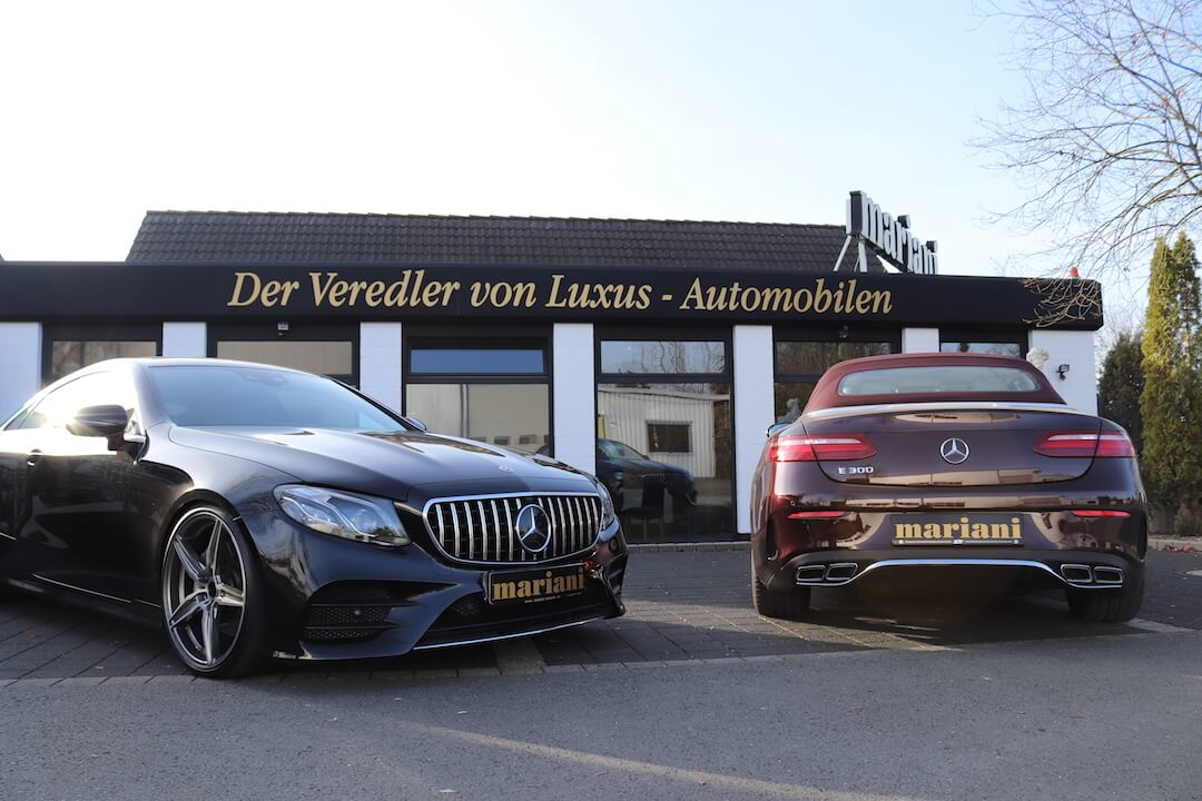 Mercedes E-Klasse Tuning mit AMG Auspuff + Panamericana und 21 Zoll Felgen
